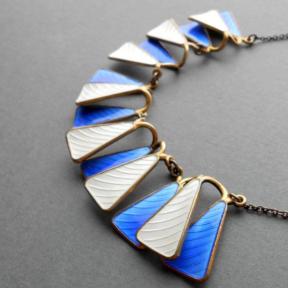 Scandinavian Modernist Jewelry.  Sterling Enamel Necklace. Aksel Holmsen. Norway. Geometric. by pinguim, $460.00