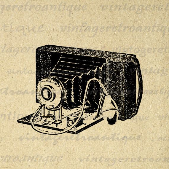 Printable Old Fashioned Camera Digital Image Illustration Download Graphic Vintage Clip Art. Vintage high resolution digital illustration from antique artwork for printing, fabric transfers, pillows, and much more. Great for etsy products. This image is high quality and high resolution at size 8½ x 11 inches. Transparent background PNG version included.