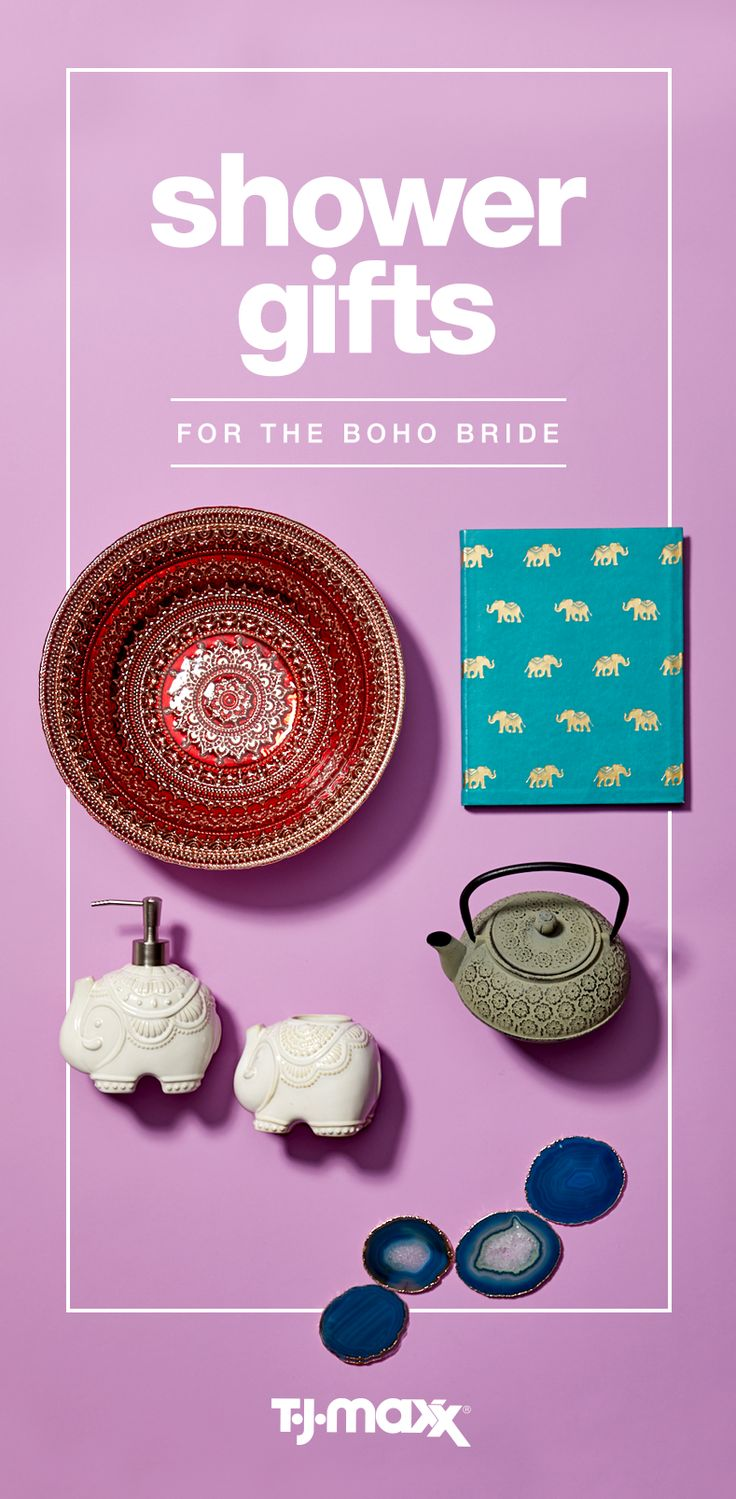 Gifting off the registry is easy when you match your present to your bride's personality or style. Think eclectic, global, and nomadic themes for the boho-chic bride. Tea sets, serving bowls in tribal patterns or raw-stone coasters are just a few great ideas. Shower your bride with gifts for her home at T.J.Maxx and tjmaxx.com.