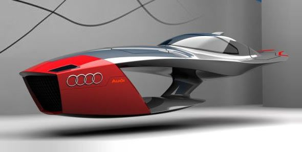 """The Audi Calamaro Concept Car was developed by a designer Tibor for a design competition, organized by Porsche Hungary. This futuristic flying concept car looks like a cross between a speed boat and a plane.      According to the designer, the shape is inspired by """"the bone of the cuttlefish""""."""