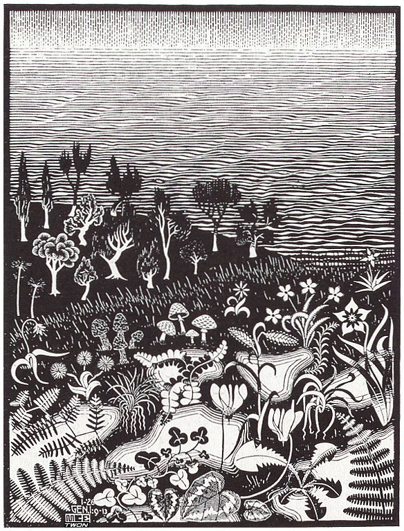 """M.C. Escher: """"The 3rd Day of The Creation"""", 1926."""