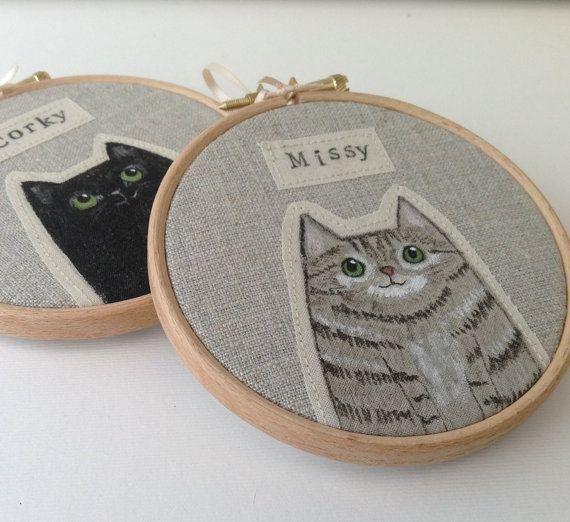 Personalised pet cat portrait - custom cat portrait  - made to order - painted cat hoop art BoxRoomBazaar UK approx $35 AuD