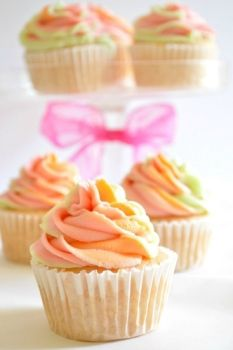 Rainbow Sherbet Cupcakes With Strawberry, Orange Creamsicle + Key Lime Swirled Frosting.Creative And Delicious!