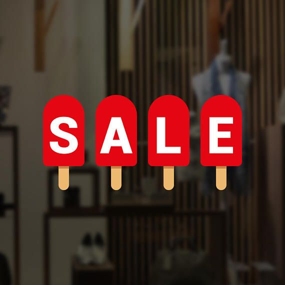 Summer sale popsicle retail display sign removable vinyl decal seasonal shop window sticker