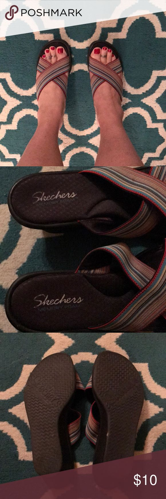 Skechers Memory Foam Wedge Sandals Super comfy, multi colored Skechers wedges. Skechers Shoes Wedges