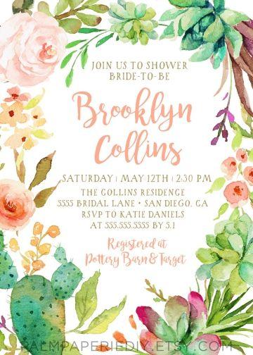 3d64da77d48 Cactus Bridal Shower Invitation
