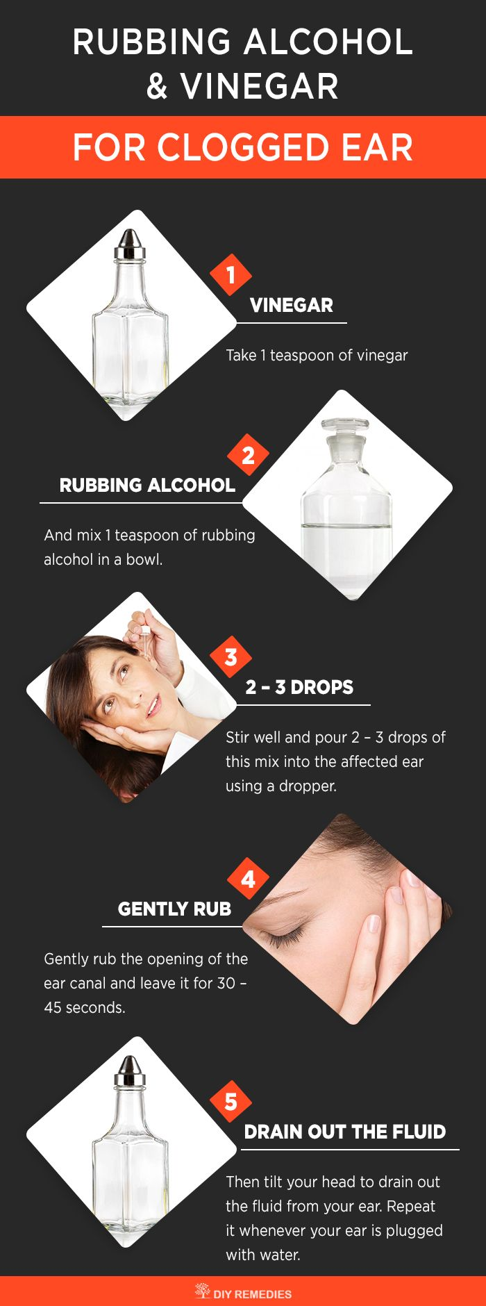 Best Ways to Remove Water from Clogged Ear   Method – 2: (Rubbing Alcohol and Vinegar)    This process is an age old remedy that used to clear the fluids out from the ear. Vinegar has antibacterial and antiseptic properties that kill germs in the ear and removes the trapped water that caused due to earwax buildup. Rubbing alcohol dries out the water from inside the ear.  #waterinsidetheear