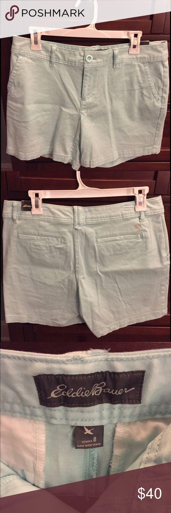 Eddie Bauer teal shorts Brand new Eddie Bauer light teal shorts. Size 8 regular Chino 6in shorts in color Bluegrass. Never been worn! Eddie Bauer Shorts Skorts