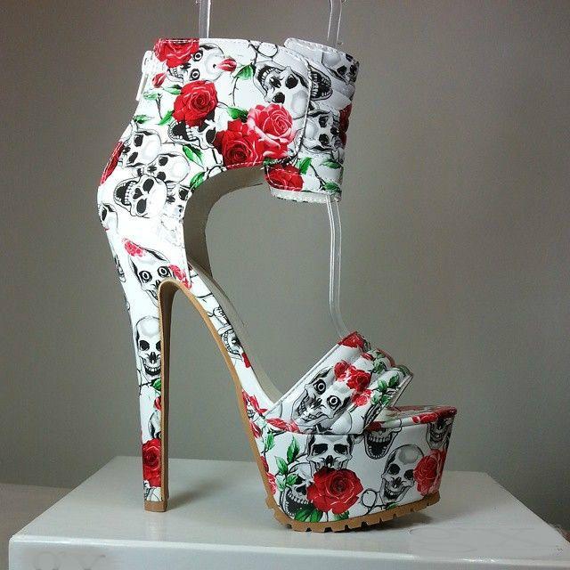 High heel sandals with roses and skull print #cutesyoriginals