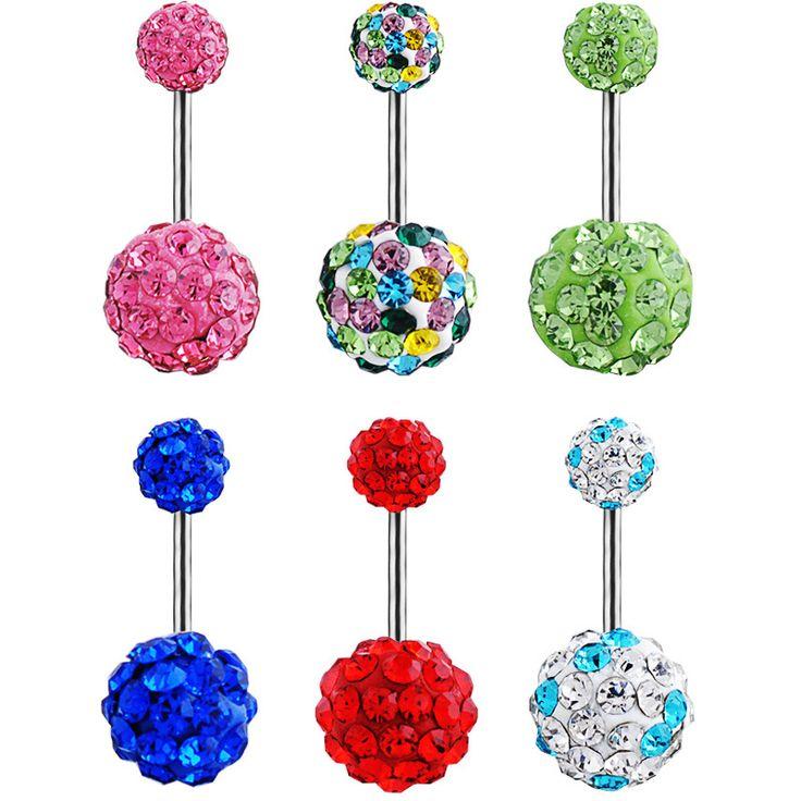 عالية الجودة الطبية الصلب كريستال تشيكوسلوفاكيا الماس مثير البطن زر خواتم الجراحية الصلب ، الثقب الجسم مجوهرات شحن مجاني BLE525