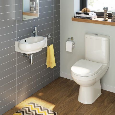 Sabrosa Toilet & Naro Basin Cloakroom Set - Left Hand [PT-BS913] - £199.99 : Platinum Taps & Bathrooms