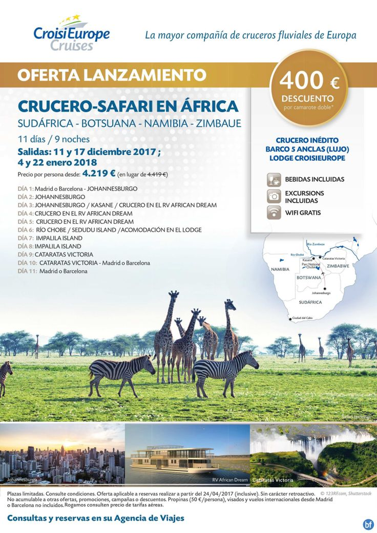 **NOVEDAD** Crucero-Safari en Sudáfrica, Botsuana, Namibia Y Zimbaue - 400€ dto x cabina- sal. dic´17 y ene´18