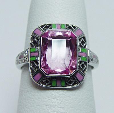 Antique Pink Stone Enamel Filigree Ring 14K White Gold Estate Jewelry: Enamels Filigr, Filigree Rings, Antiques Art, Deco Antiques, Stones Enamels, Stones Enamelu, Pink Stones, Rings 14K, Antiques Pink
