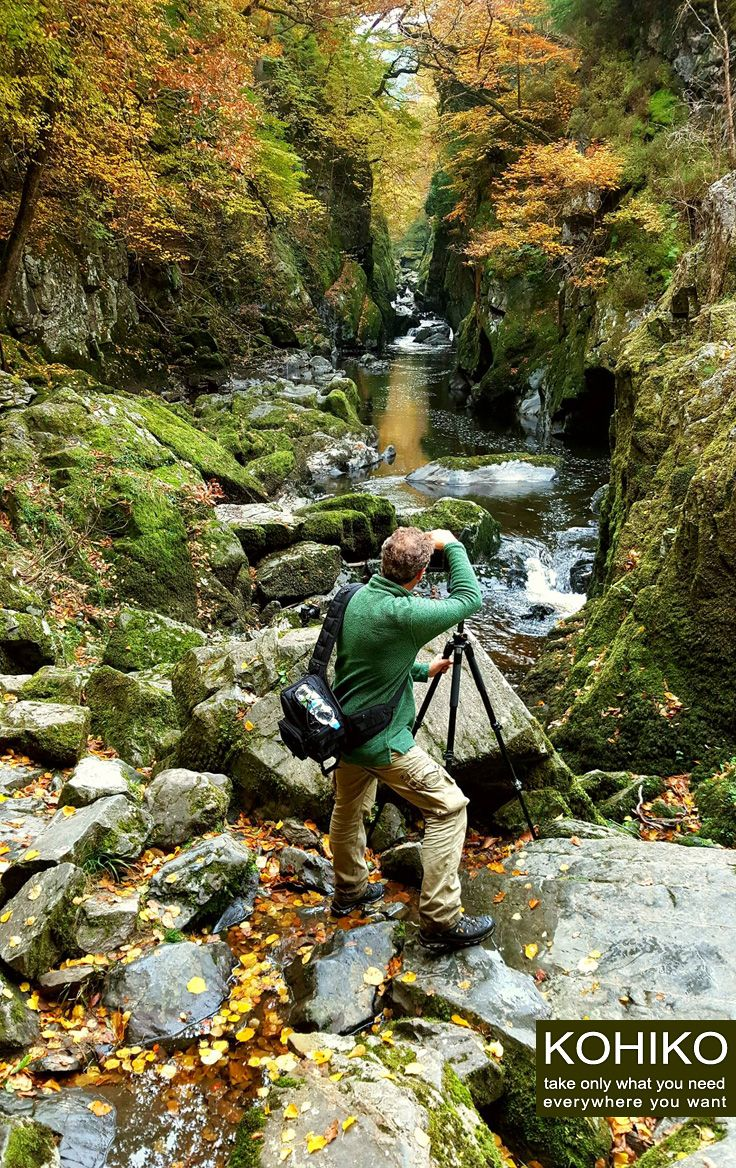 English travel photographer Andreas Jones (http://bit.ly/2eedDKh) with KOHIKO™ camera backpack on a photo set. Fairy Glen Gorge, North Wales, UK.