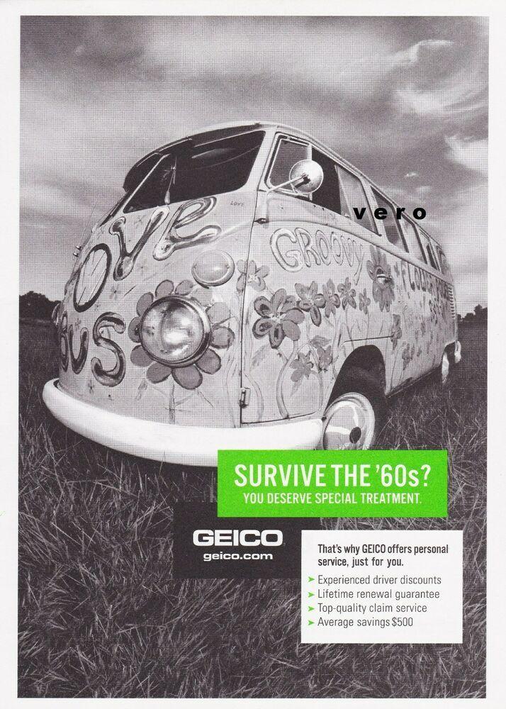 Geico Insurance Ad Vw Hippie Bus Van Vtg Art Magazine Print Advert