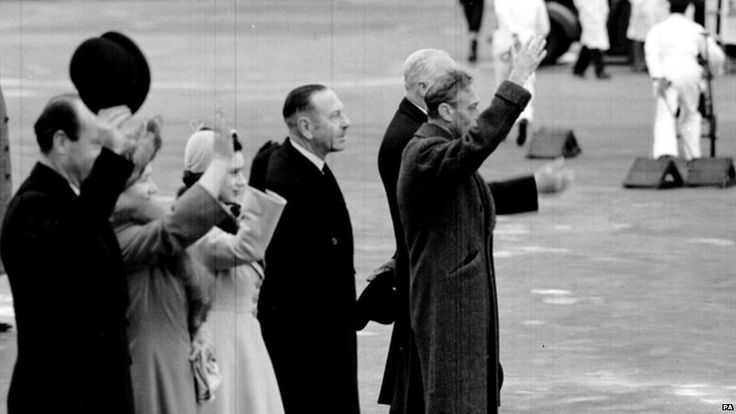 On 6 February 1952, King George VI died at the age of 56.  Just six days earlier he had stood with his wife and younger daughter, and waved off his elder daughter Princess Elizabeth and her husband on their trip to Kenya.  It was to be his last public appearance.