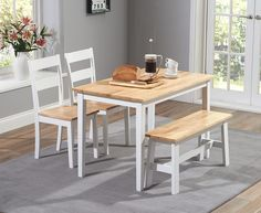 Buy the Chiltern 115cm Oak and White Dining Set with Bench and Chairs at Oak Furniture Superstore