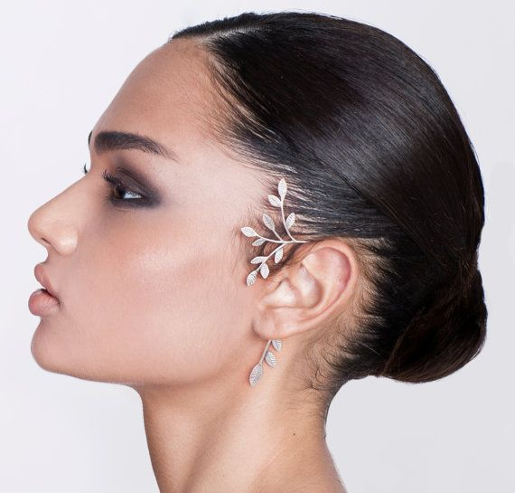 Statement Ear Cuff - ear cuff no piercing , silver ear cuff , wedding ear cuff , leaves ear cuff , tree ear cuff , woodland ear cuff