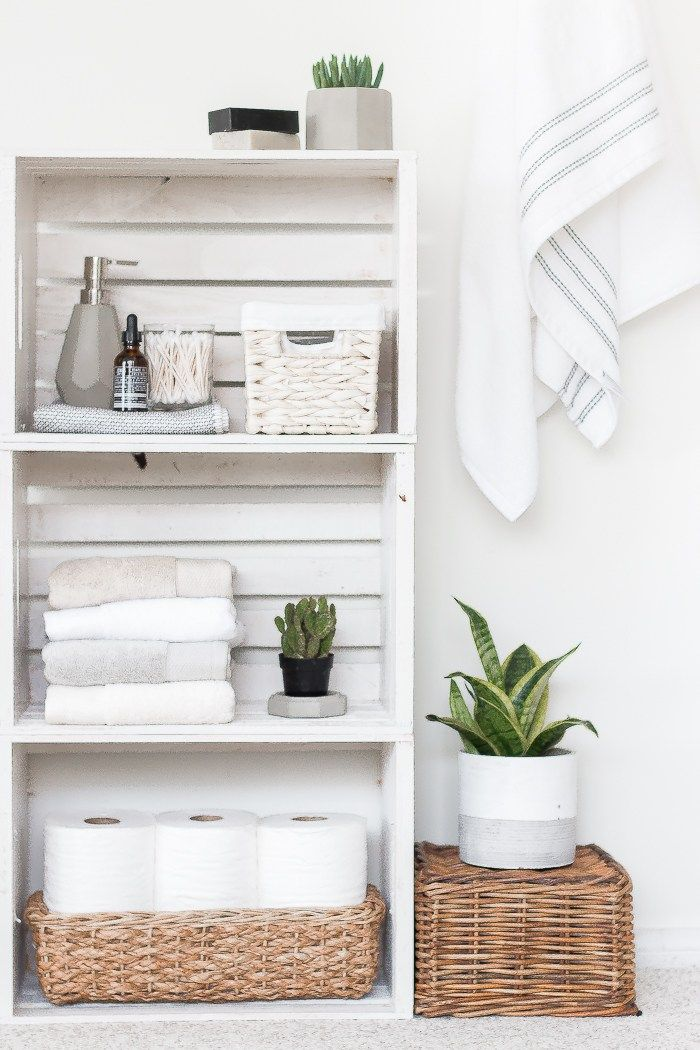 DIY Crate Shelves Bathroom Organizer