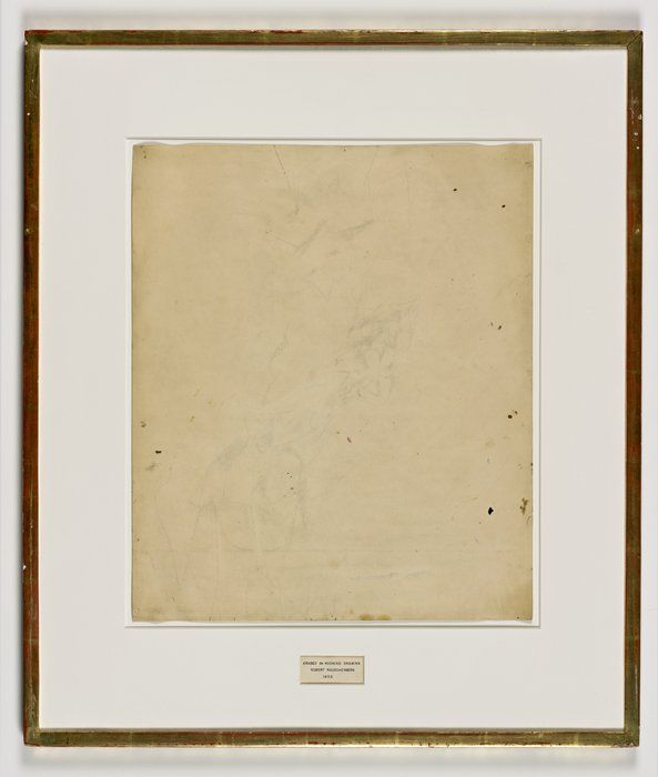 Robert Rauschenberg, Erased de Kooning Drawing, 1953, traces of ink and crayon on paper, mat, label, and gilded frame