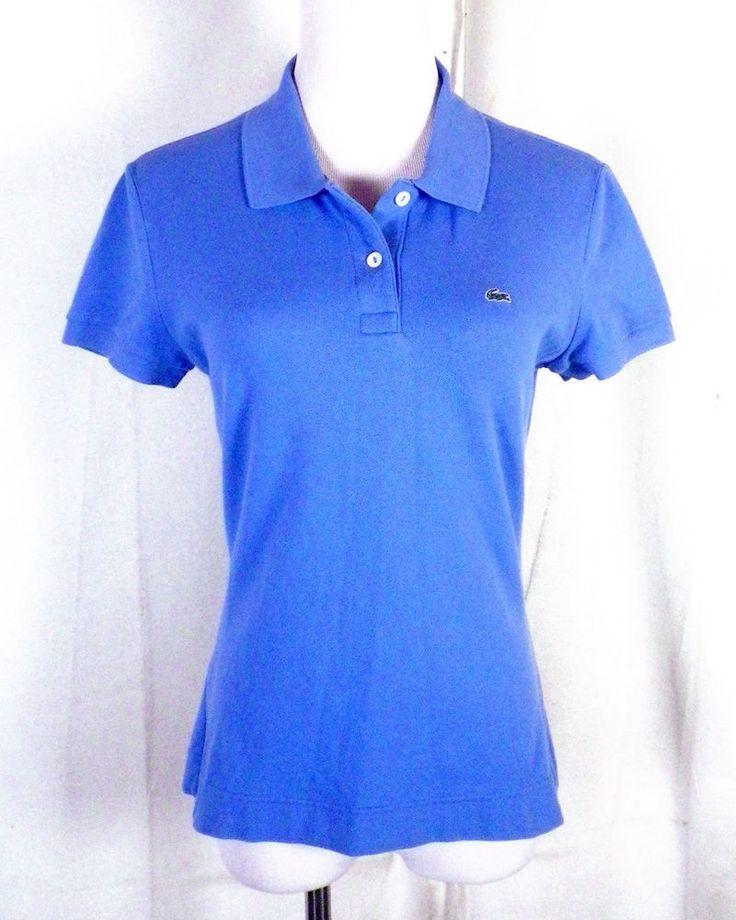 euc Lacoste blue Ladies Polo Shirt Top Pique Cotton sz 42 #Lacoste #PoloShirt