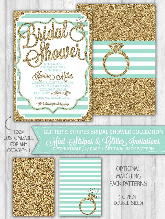 Mint Bridal Shower Invitation Mint & Gold Glitter by LaBelleStudio, $10.00