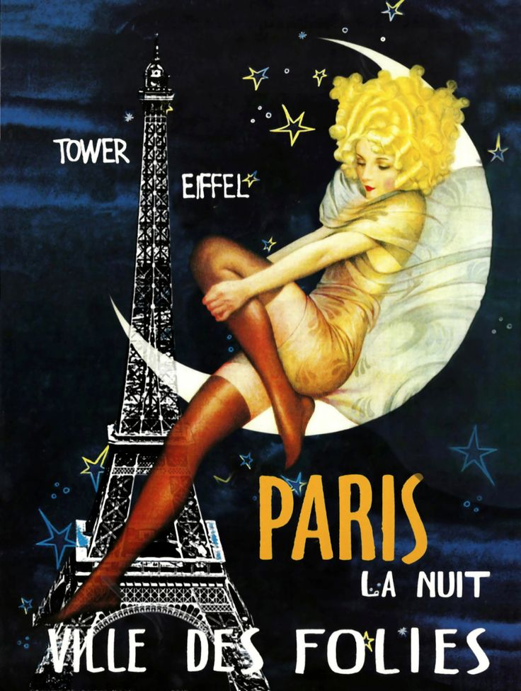 "Vintage poster promoting ""NIGHTS IN PARIS""...."