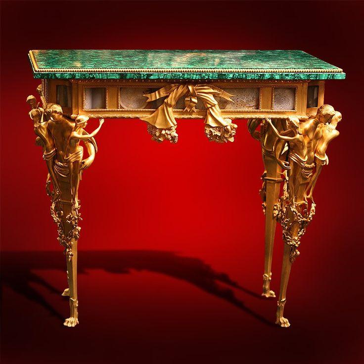 Malachite Furniture | One Genuine Russian Malachite, Dorre Bronze, And  Agate Table, Figures