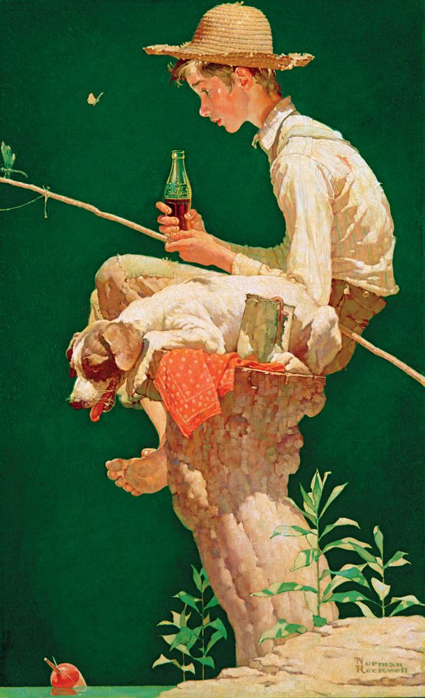 """*Coca-Cola ad - """"Out Fishin',"""" Norman Rockwell 1939. It's not about the Coke with me it is about the fishing. I am a Pepsi man!"""