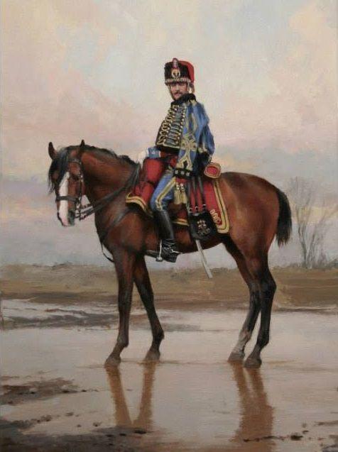 Regimiento de Húsares de Pavía 1909. General de Brigada, en uniforme de Coronel. Pintura de Ferrer Dalmau
