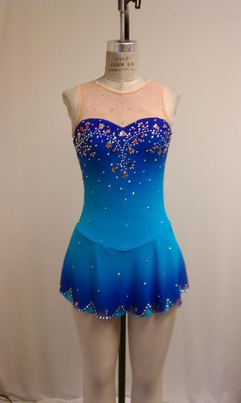 Del Arbour Airbrushed D47C-Z67 Turq/Sapphire Skating Dress