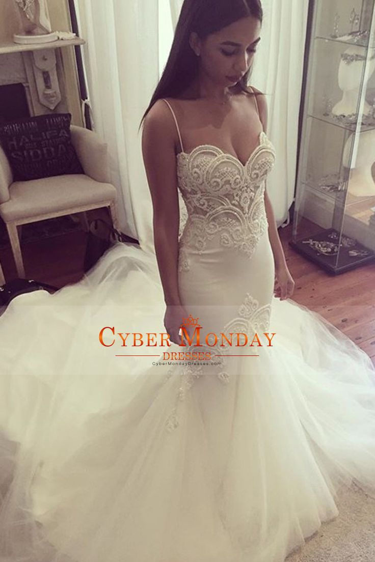 2017 Spaghetti Straps Mermaid Tulle Wedding Dresses With Applique And Beads