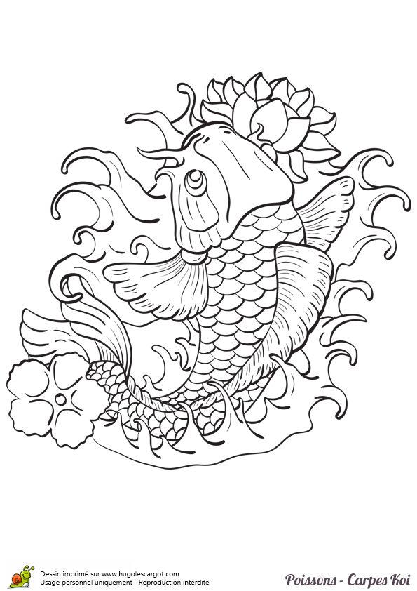 Coloriage magnifique poisson carpe koi sur texture art - Coloriage magnifique ...