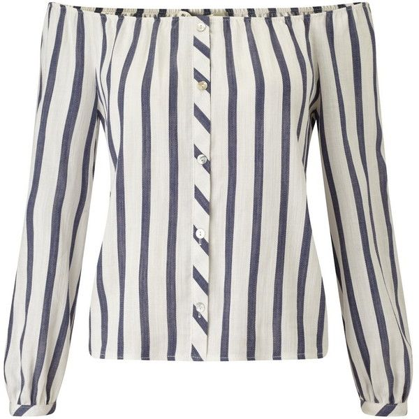 Miss Selfridge Petites Stripe Bardot Top ($57) ❤ liked on Polyvore featuring tops, shirts, petite, white, white top, petite tops, long sleeve tops, long sleeve striped top and miss selfridge