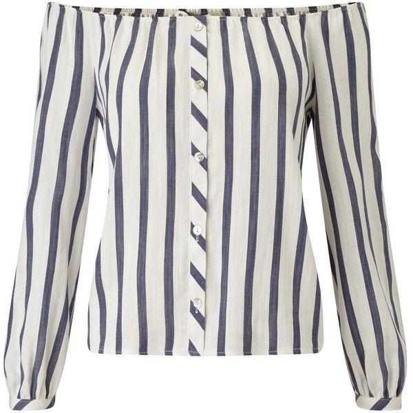 Miss Selfridge Petites Stripe Bardot Top ($57) ❤ liked on Polyvore featuring tops, petite, white, white top, long sleeve striped top, rayon tops, miss selfridge and petite long sleeve tops