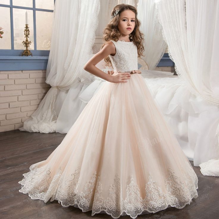 Scoop Bow Beautiful Pageant Graduation Dress for Little Girl Size 8 12 Puffy Long Kids Prom Dresses Evening Ball Gown Lace Hem-in Flower Girl Dresses from Weddings & Events on Aliexpress.com | Alibaba Group