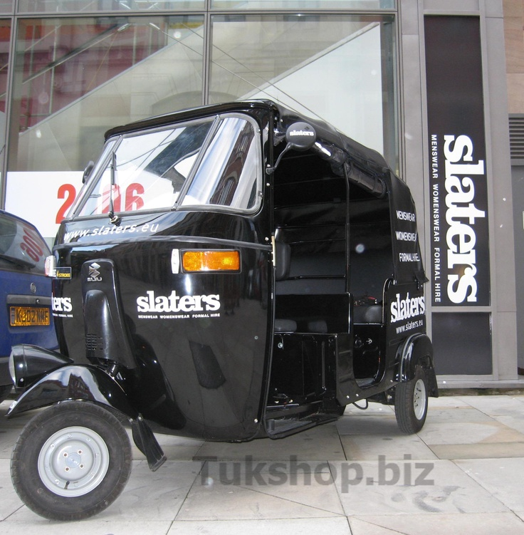 Bajaj tuk tuk from www.tukshop.biz for Slaters menswear of Manchester.