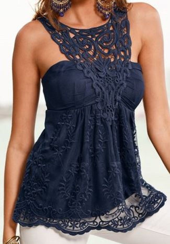 Love Love LOVE this Top! Elegant Black Lace Sheer Backless Tank Top  #Sexy #Black #Lace #Tank #Top #Fashion
