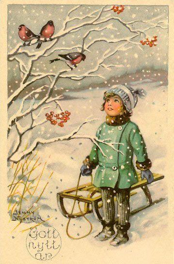 "Jenny Nyström Happy New Year card with text ""Gott nytt år"" in Swedish #illustration n"