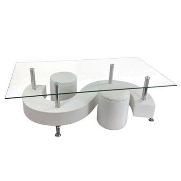 Epsom Coffee Table - With Stools - White - Milan Direct