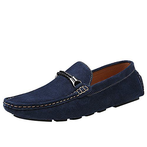 Rismart Men's Stylish Suede Leather Driving Shoes Business Loafers Navy 8028 US9