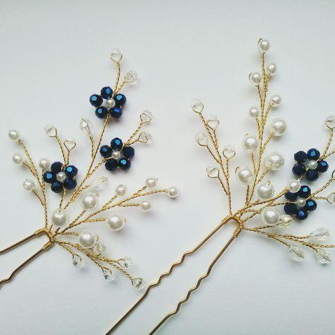 Azul de boda horquillas para el pelo perno de pelo marfil