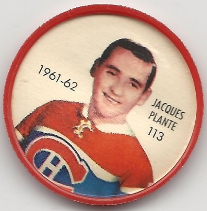 Jacques Plante 1961-62 Montreal Canadiens Shirriff Hockey Coin # 113 NM-MT