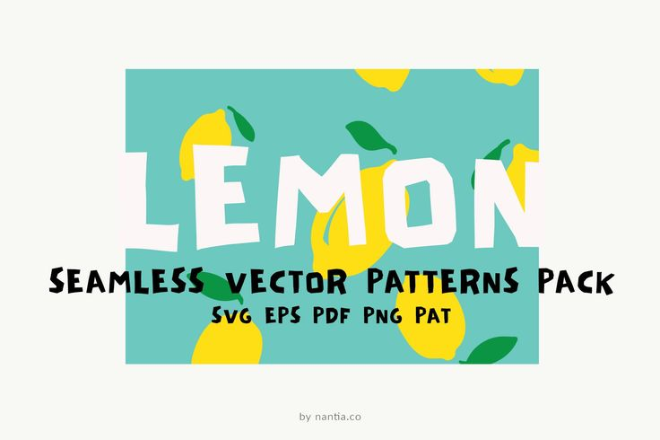 Lemon Seamless Vector Patterns Pack When life gives you lemons, you make patterns! Not only these 5 fresh patterns of lemons are seamlessly tileable, but also they are in vector file formats for use on large scale designs. This Lemon Seamless Vector Patterns Pack can be used in blog backgrounds, social media template backgrounds, packaging and textile designs. With two color combinations, yellow and turquoise this illustrated pattern can make your graphics pop.