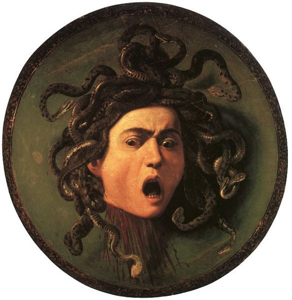 Medusa's head on Athena's shield, by Caravaggio