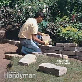 Photo 4: Stagger the wall stones  Building a stone wall & steps http://www.familyhandyman.com/garden-structures/garden-paths/how-to-build-a-stone-path/step-by-step#step3
