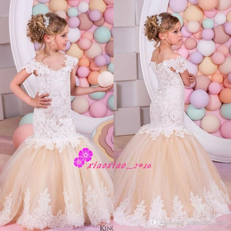 Off Shoulder 2016 Mermaid Flower Girls' Dresses For Weddings Short Sleeve Lace Girls Formal Wear Long Champagne Trumpet Communion Gowns Online with $117.59/Piece on Xiaoxiao_2016's Store | DHgate.com