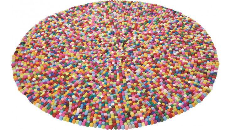 Kare Design Teppich bunt Bobbel Multi (Rund 140 cm