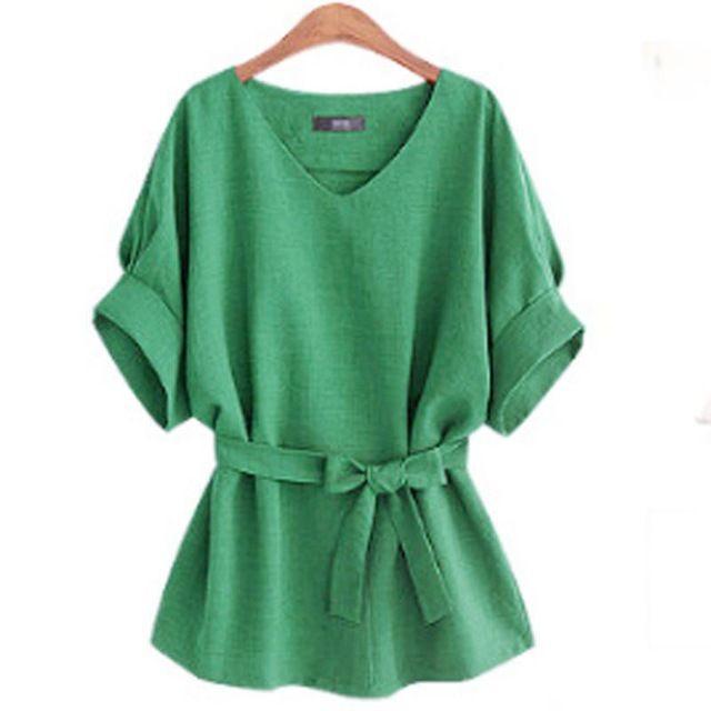 2017 Verão Plus Size XL-5XL Mulheres Túnica De Linho Camisa V pescoço Gravata Grande Arco Batwing Senhoras Soltos Blusa Europeu Feminino Top