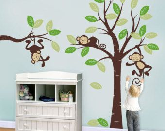 Large tree wall decal with monkeys and by wallstaledecor on Etsy